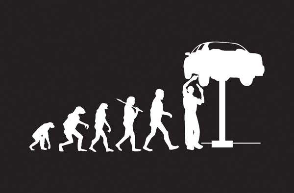 Evolution Of The Mechanic T Shirt Available Exclusively At Genuine Hotrod Hardware Free