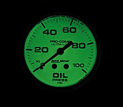 "Auto Meter 4523 2-5//8/"" Ultra-Nite Mechanical Oil Pressure Gauge 0-150 PSI"