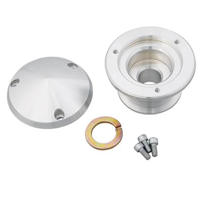 March Performance 208 Clear Powdercoat Billet Aluminum 6-Rib Serpentine Alternator Pulley with Cover