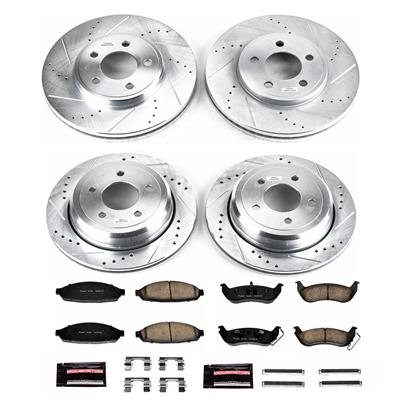 Replacement Parts Power Stop K1368 Rear Ceramic Brake Pad and Cross Drilled/Slotted Combo Rotor One-Click Brake Kit Brake Kits