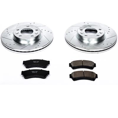 Power Sport Cross Drilled Slotted Brake Rotors and Ceramic Brake Pads Kit FRONTS 80960