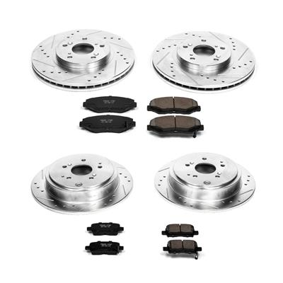 Power Stop K2382 Rear Ceramic Brake Pad and Cross Drilled//Slotted Combo Rotor One-Click Brake Kit