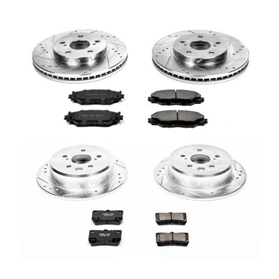 Power Stop K2406 Front Ceramic Brake Pad and Cross Drilled//Slotted Combo Rotor One-Click Brake Kit
