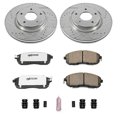 Max Brakes Premium XD Rotors with Carbon Ceramic Pads KT035523 Front + Rear