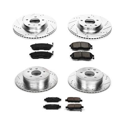 Power Stop K1121 Front /& Rear Brake Kit with Drilled//Slotted Brake Rotors and Z23 Evolution Ceramic Brake Pads