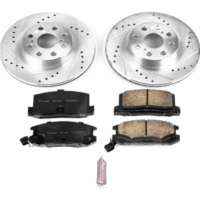 Power Stop K3018 Front Ceramic Brake Pad and Cross Drilled//Slotted Combo Rotor One-Click Brake Kit