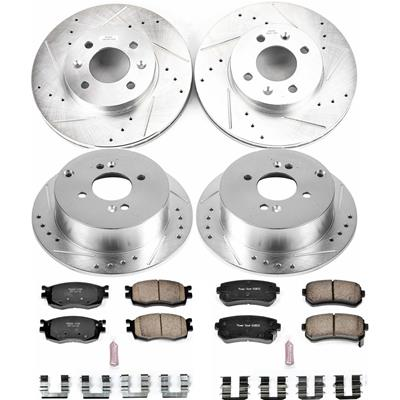 Power Stop K2009 Front Ceramic Brake Pad and Cross Drilled//Slotted Combo Rotor One-Click Brake Kit