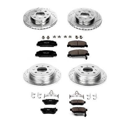 Power Stop K699 Front Ceramic Brake Pad and Cross Drilled//Slotted Combo Rotor One-Click Brake Kit