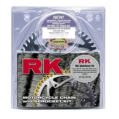 RK Racing Chain 3012-068ZG Silver Aluminum Rear Sprocket and GB520MXZ4 Chain Race Kit