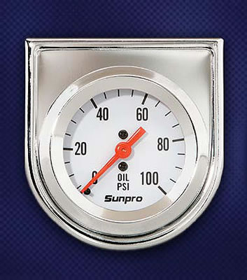 Sunpro Analog Styleline Mechanical Oil Pressure Gauge 2 Dia White