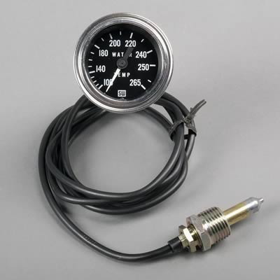 "Stewart Warner Deluxe Series Mechanical Water Temperature Gauge 2 1 16"" Dia"