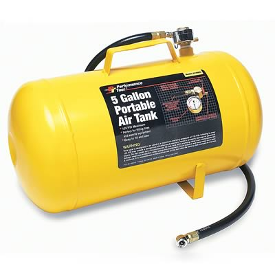 Air Tank Portable 5GALS Steel Yellow 3' Hose Shut Off Valve PSI Gauge Tire Chuck