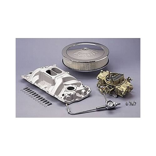 SBC 350 Chevy Edelbrock 7101 Intake, Holley 650 Cfm, & Air