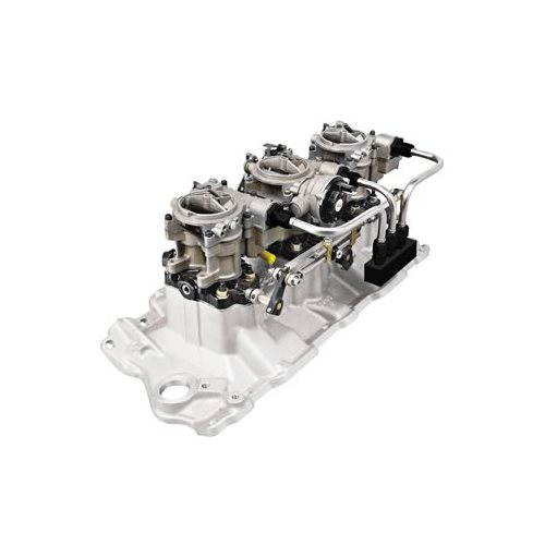 SBC 350 Chevy Edelbrock 54191 Intake And 3x2 Carbs 350CFM