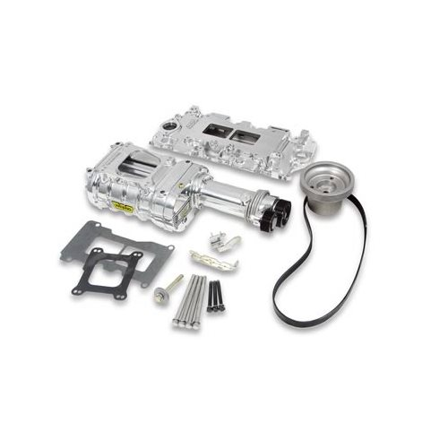 Roots Supercharger Kits: Weiand Supercharger System Roots 142 Series Polished Chevy