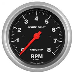 """Auto Meter Tachometer Gauge 3780; Sport-Comp 0 to 8000 RPM 3-3//4/"""" Electrical"""