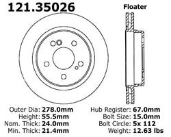 StopTech 126.62051SL Sport Slotted Brake Rotor; Rear Left