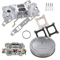 Summit Racing 03-0124 - Summit Racing® Intake Manifold, Carburetor, and Air Cleaner Pro Packs