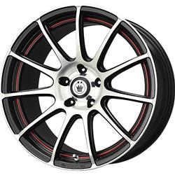 Konig Wheels Z189514455 - Konig Zero-In Black Wheels with Machined Face and Red Stripe