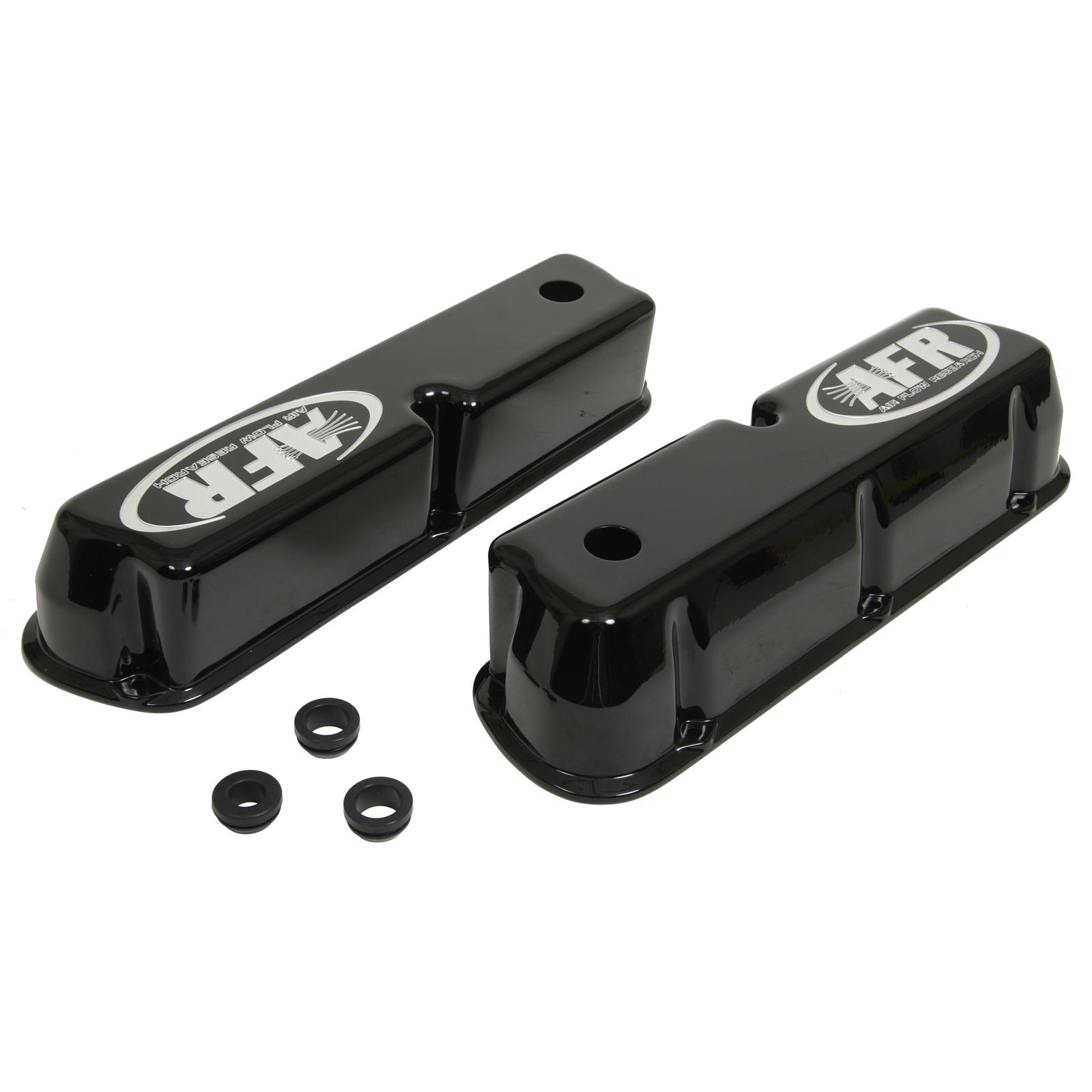 AFR 6704 Valve Covers Tall Height Cast Alum Polished AFR Logo Chevy SB Pair