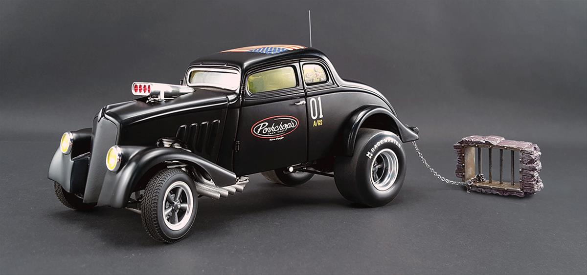 1:18 Scale Porkchop's Chop Shop 1933 Willys Gasser Diecast Model A1800907