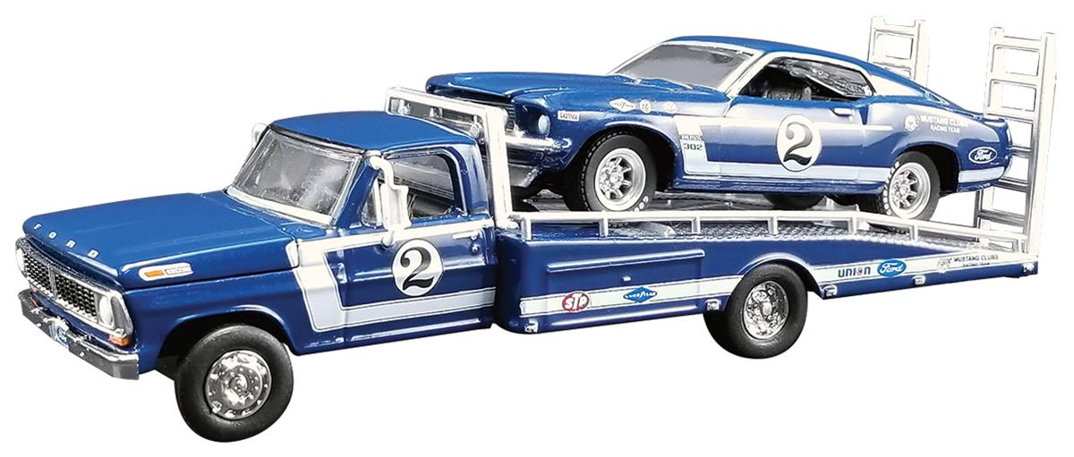Acme Diecast Gl 51268 1 64 Scale Dan Gurney Ford F 350 Ramp Truck With 2 1969 Trans Am Mustang Summit Racing