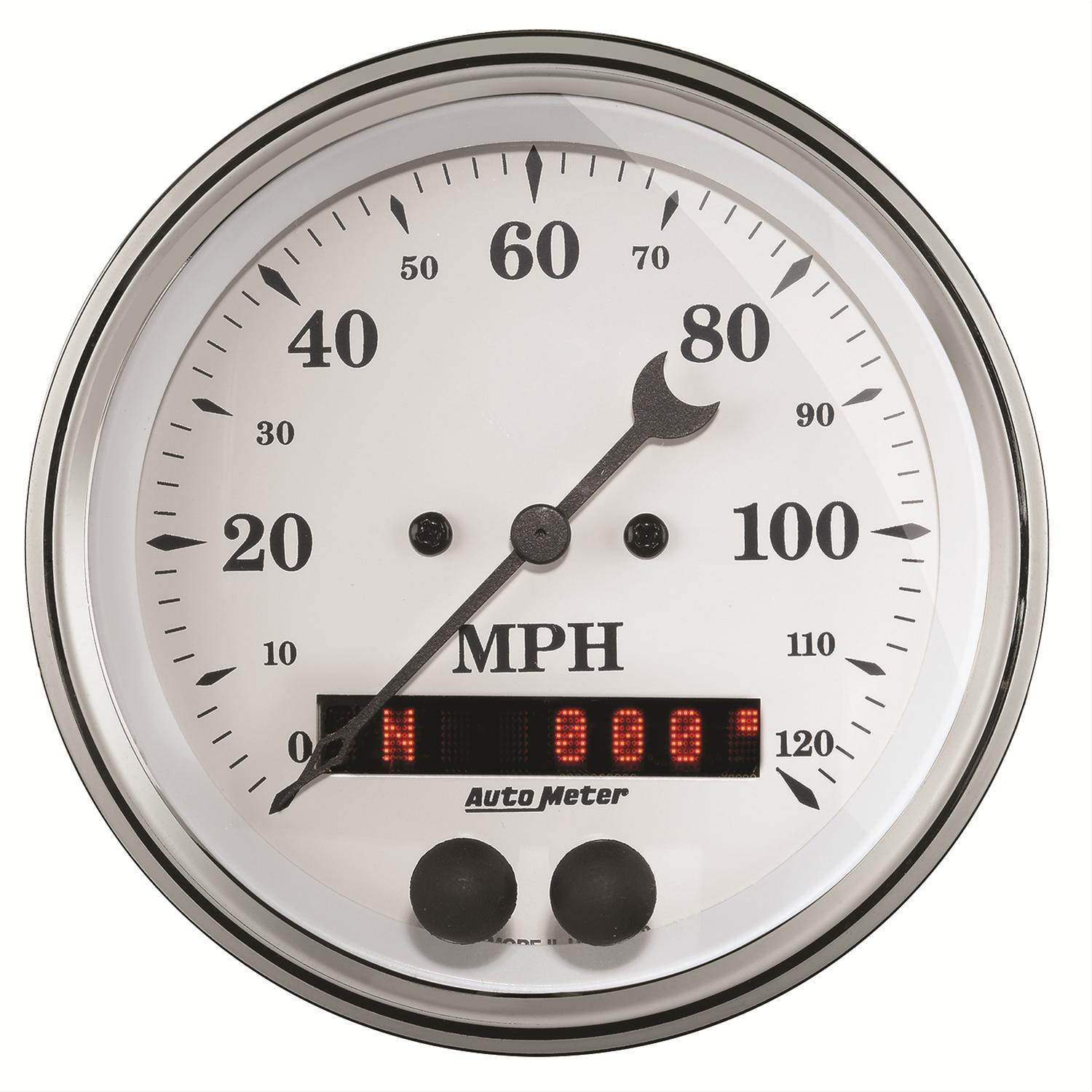 Auto Meter Electronic Speedometers : Auto meter old tyme white series gps enabled speedometer