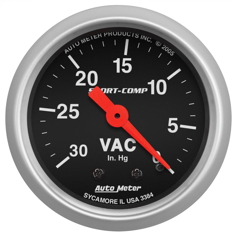 Auto Meter 3384 Sport-Comp 2-1//16 Mechanical Vacuum Gauge