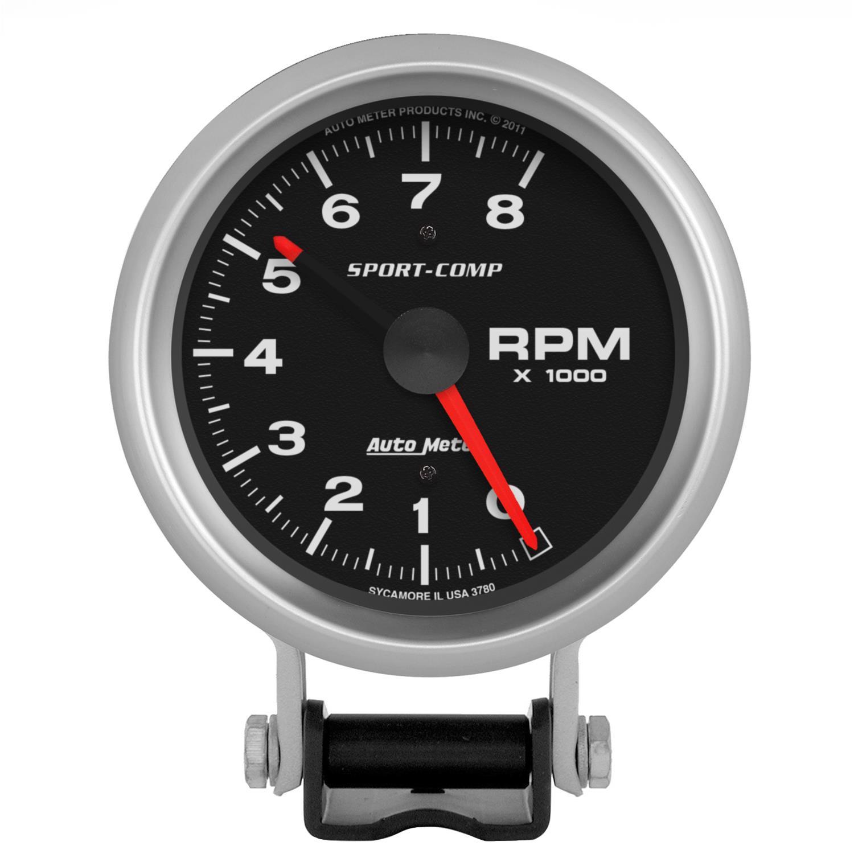 "Autogage 0-8,000 rpm 3 3//4/"" Analog Tachometer 2300 AUTO METER"
