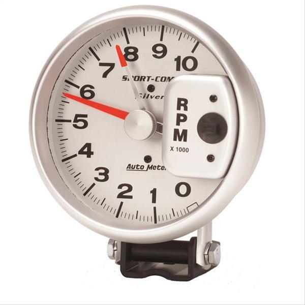 autometer sport comp silver tachometer 0 10 000 5 quot dia silver 3910 ebay