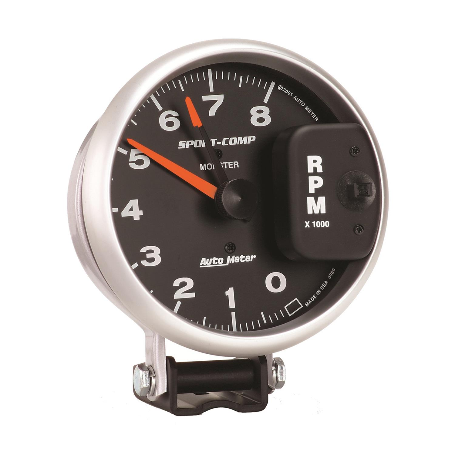 autometer sport comp monster tachometer 0 8 000 5 dia. Black Bedroom Furniture Sets. Home Design Ideas