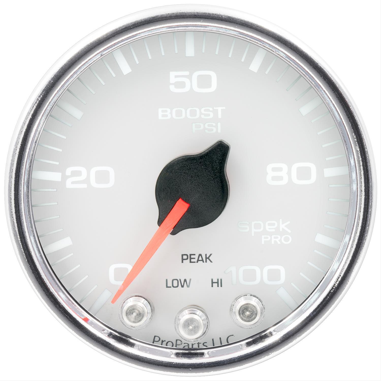 Boost Stepper Motor W//Peak /& Warn Spek-Pro 2 1//16 Auto Meter P30511 Gauge Wht//Chrm 2 1//16 100Psi