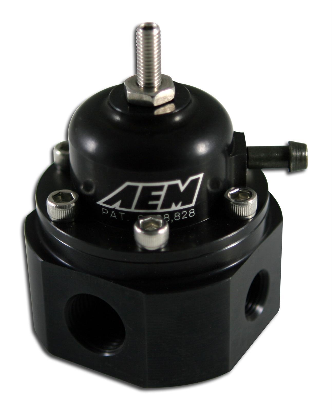 Black NEW AEM Electronic 25-302BK Universal Adjustable Fuel Pressure Regulator