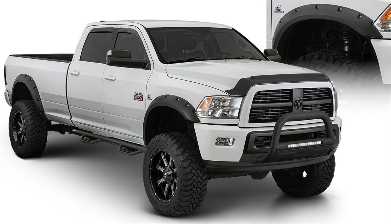 Running Boards For Dodge Ram 2500 >> Bushwacker Max Coverage Pocket Style Fender Flares 50921-02 - Free Shipping on Orders Over $99 ...