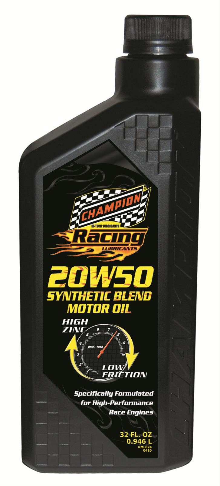 Champion Brands Motor Oil Racing Semi Synthetic 20w50 Zddp