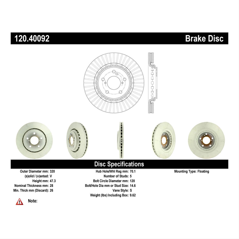 Centric Parts 120 40092 Centric Premium Brake Rotors Summit Racing