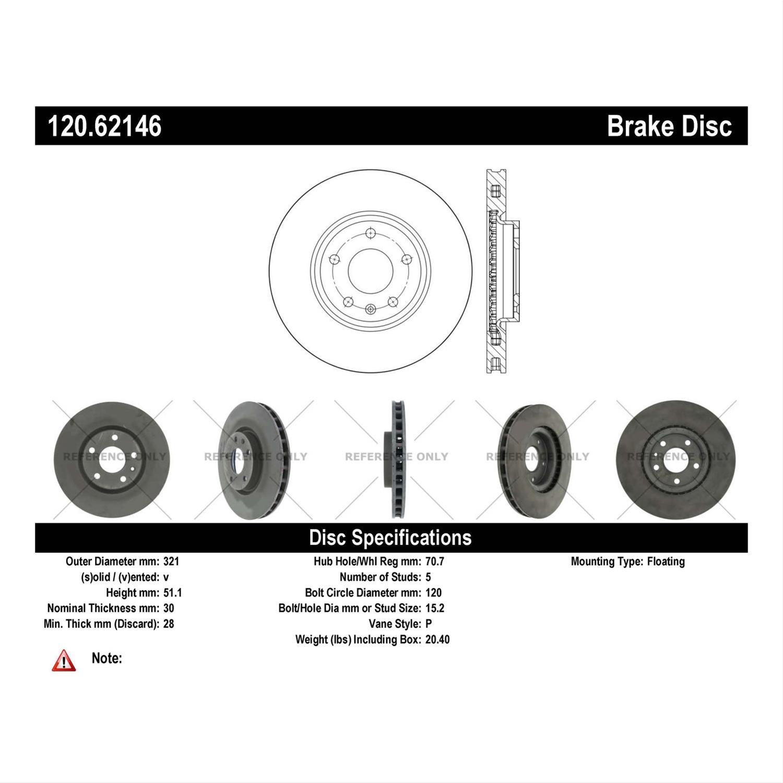 Centric Parts 120 62146 Centric Premium Brake Rotors Summit Racing