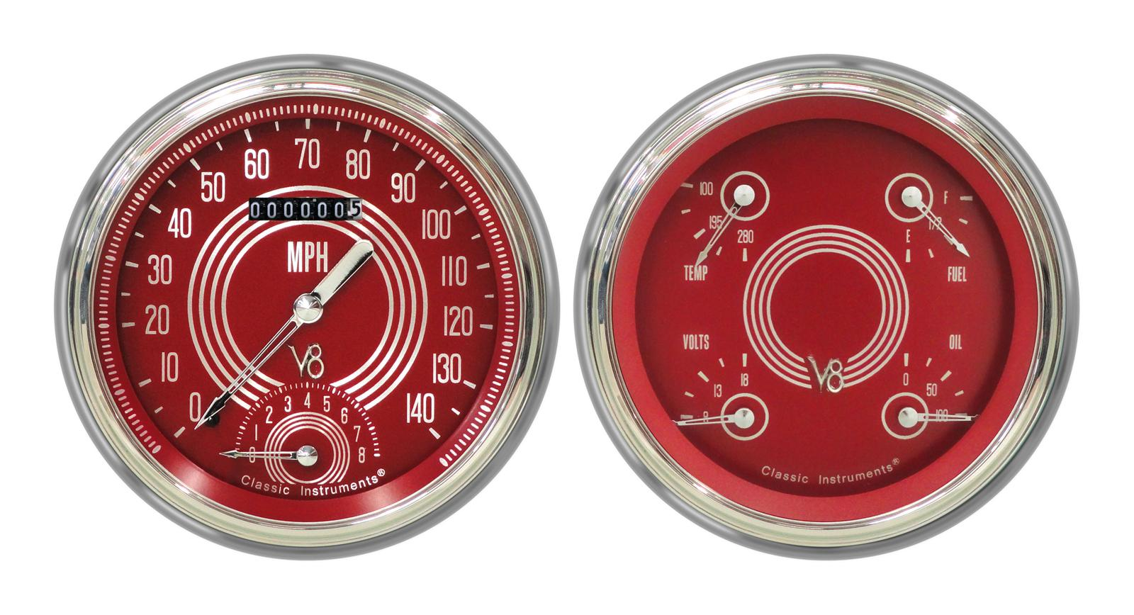 Classic Instruments Ct47v8rs62 Classic Instruments 1947 53 Chevy Pickup Package Gauge Sets Summit Racing