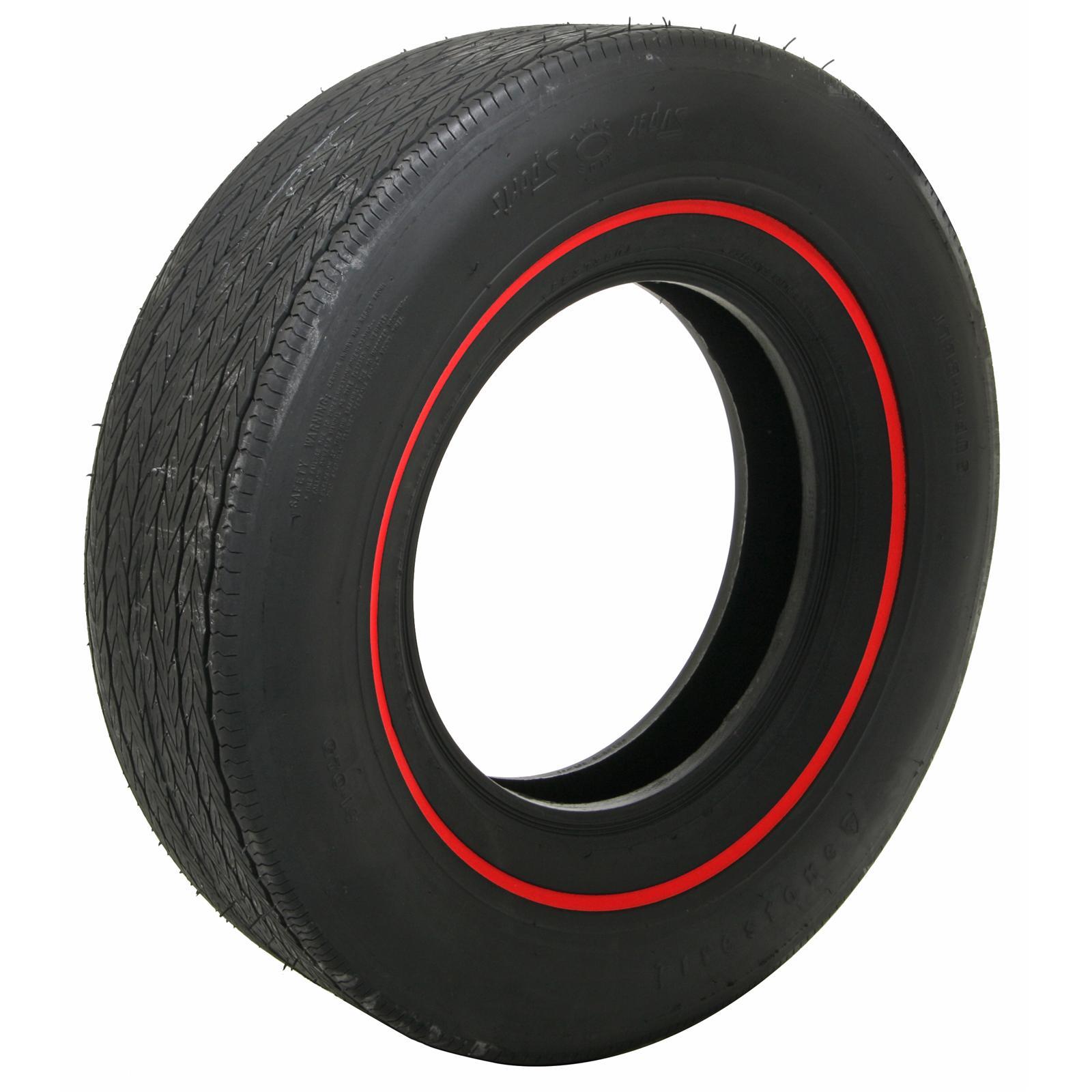 Coker Firestone Wide Oval Tire G70 14 Bias ply Redline Each