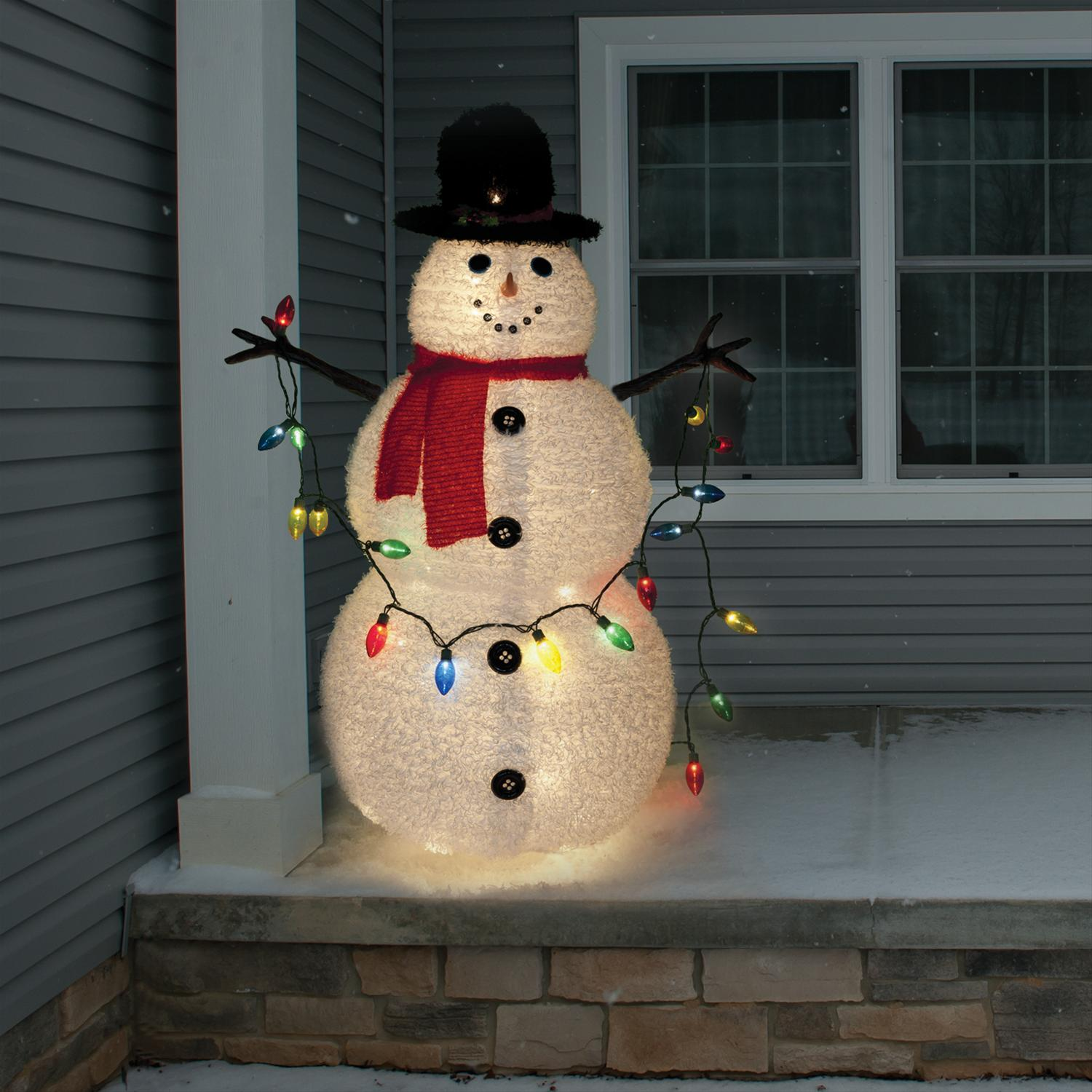 Lighted Holographic Two Snowman Carolers Christmas Outdoor: Collapsible Snowman Tinsel-Light Display 14-31005U