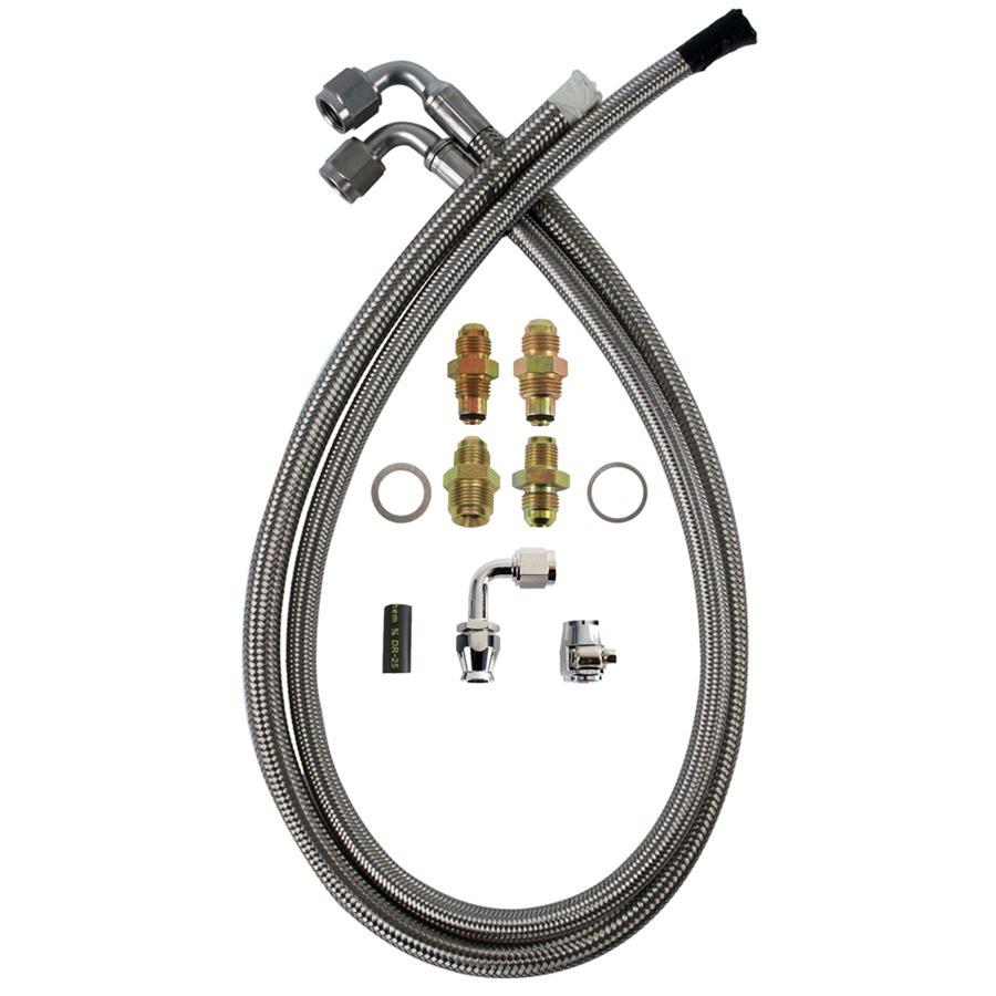 Stainless Power Steering Lines : Detroit speed power steering hoses braided stainless steel