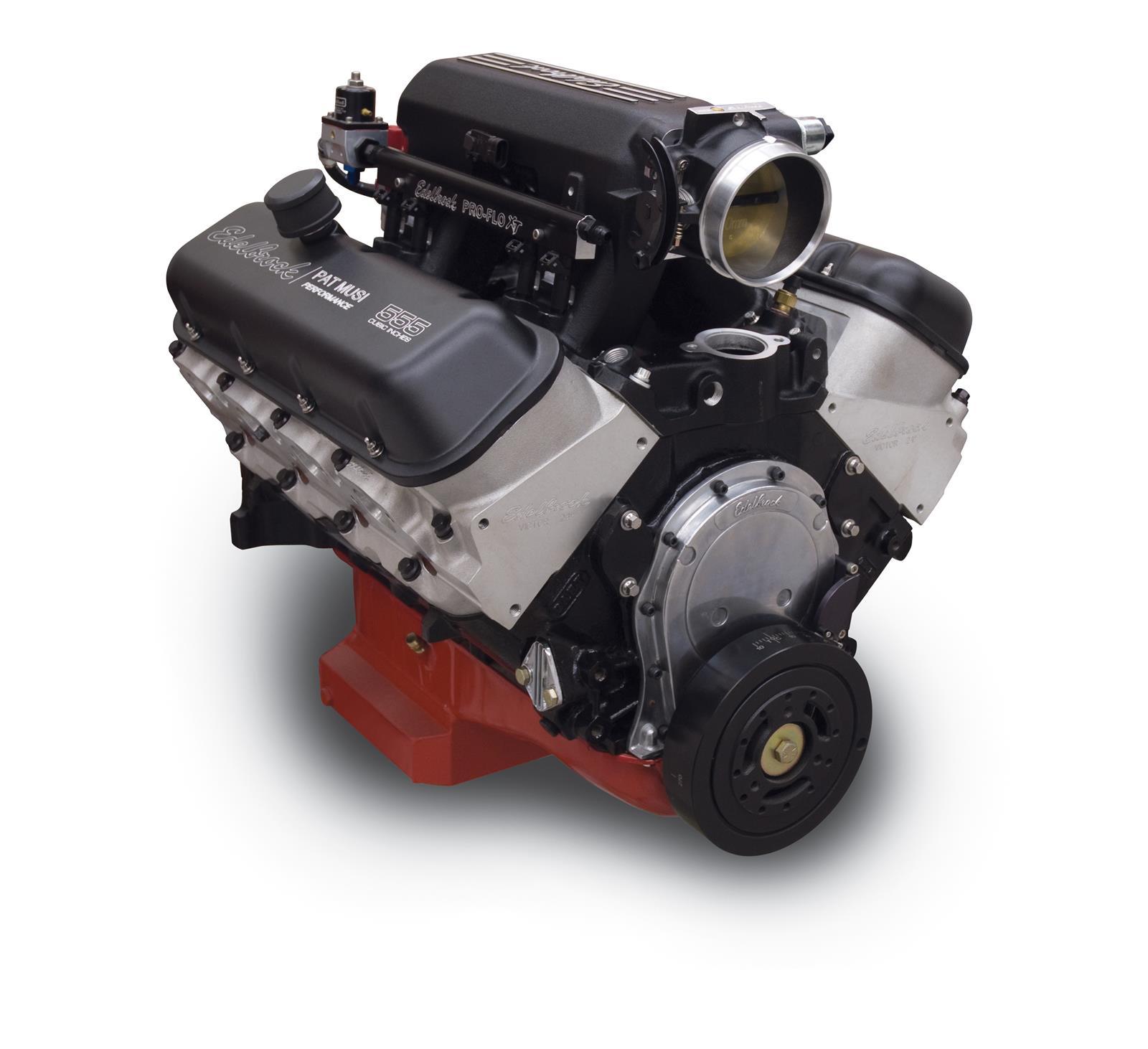 Edelbrock Musi 555 C I D  697 HP Pro-Flo 4 Long Block Crate Engines 49557