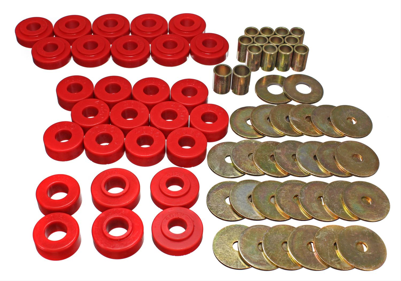 Energy Suspension Body Mount Set 3.4141R; Red Polyurethane