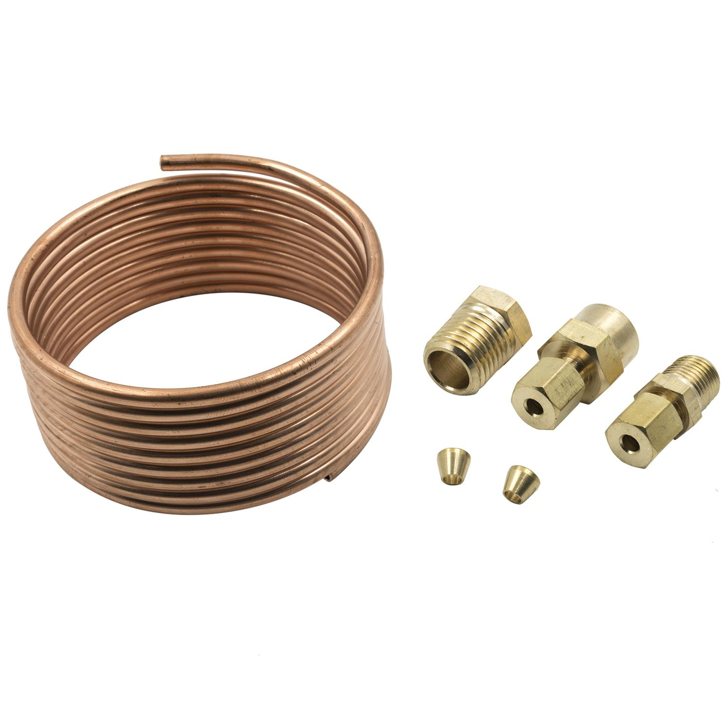"Auto Meter 3224 Tubing Copper 1//8/"" 6ft Length 1//8/"" Brass Compression Fittings"