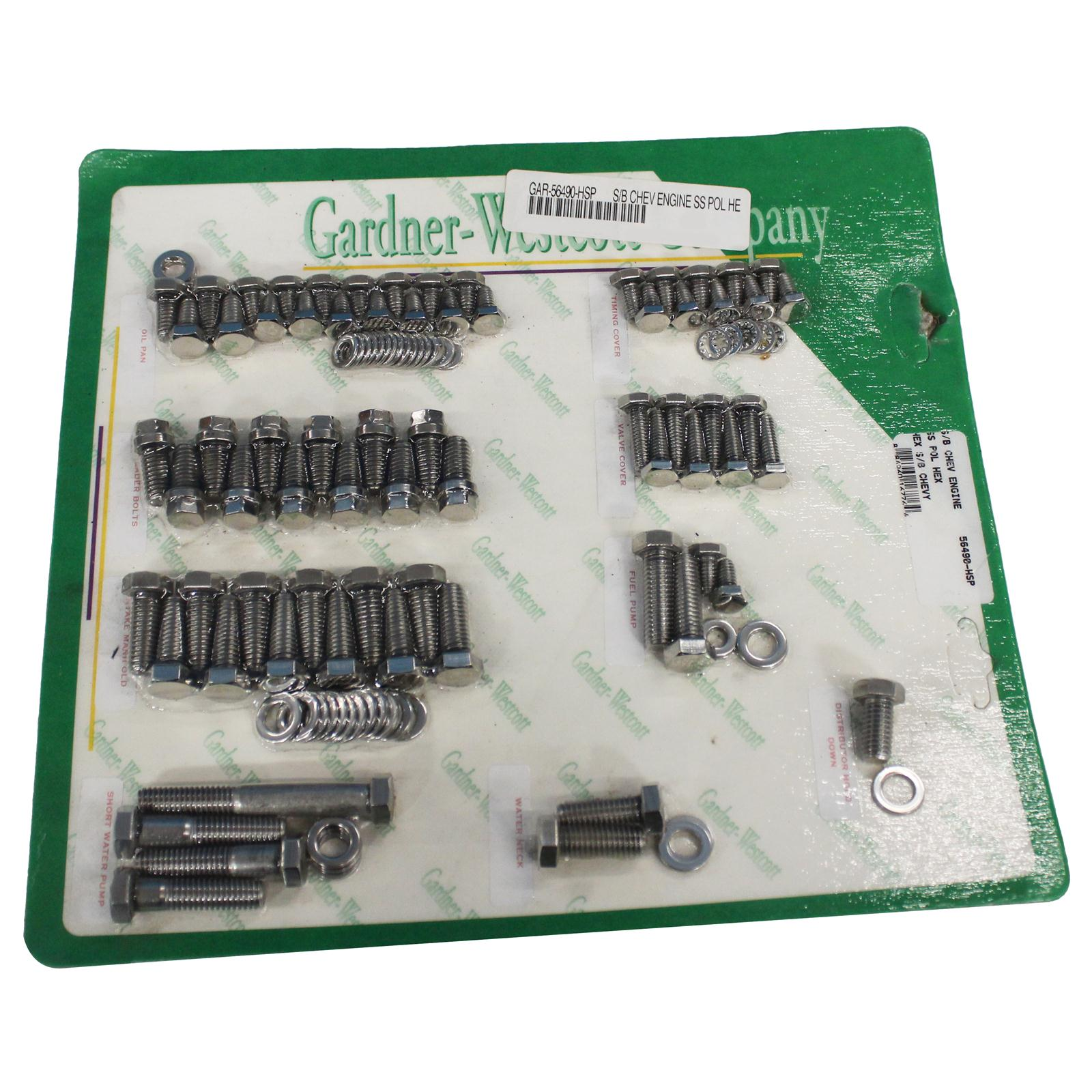 56490-HSP Stainless Steel Engine Bolt Kit Small Block Chevy Polished GAR