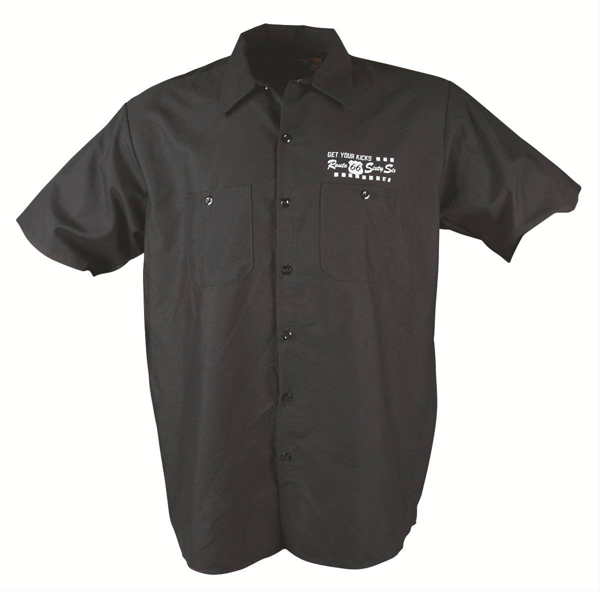Ghh work shirt button down cotton polyester black route 66 for Polyester button up shirt