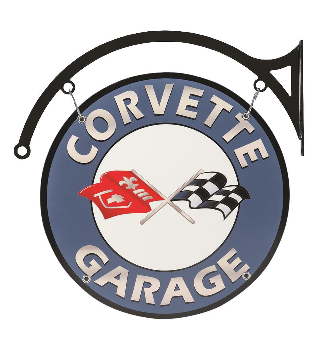 Corvette Signs Garage : Double sided corvette garage sign with bracket vet ds
