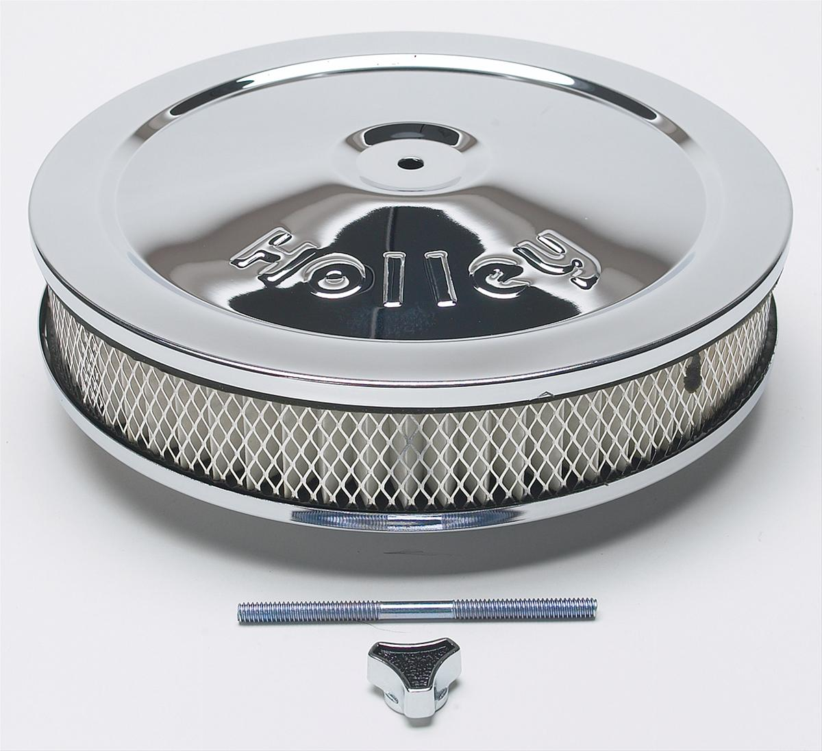 Holley Air Cleaner : Holley chrome air cleaner quot dia round white paper