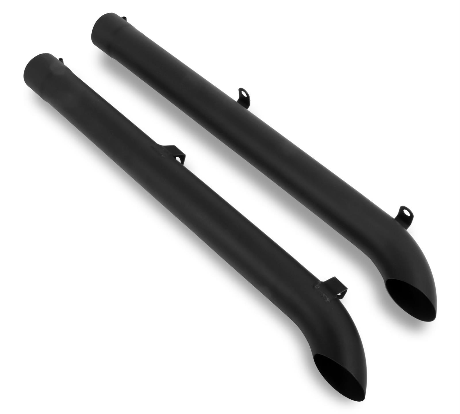 "hooker exhaust side pipes steel black painted 4"" inlet 46"" length"