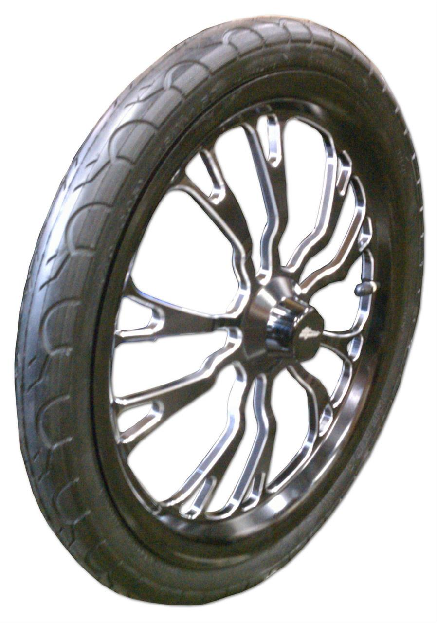 JR Race Car Black Jack 3-D Jr  Dragster Polished Front Wheel and Tire  Packages 555-7954